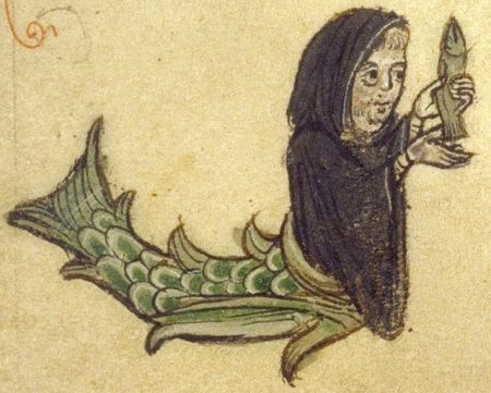 Merman dressed as monk holds fish